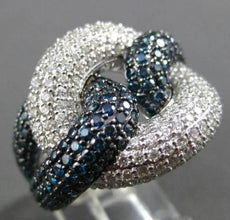 ESTATE LARGE 4.70CT BLUE & WHITE DIAMOND 18KT WHITE GOLD INFINITY COCKTAIL RING