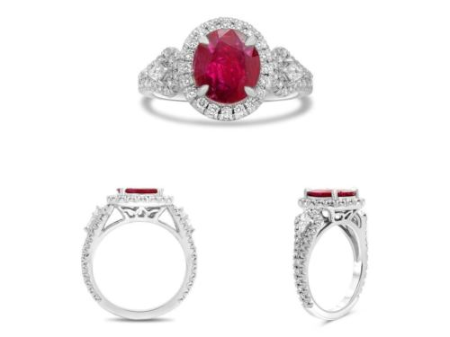 GIA CERTIFIED 2.98CT DIAMOND & AAA RUBY PLATINUM HALO FILIGREE ENGAGEMENT RING