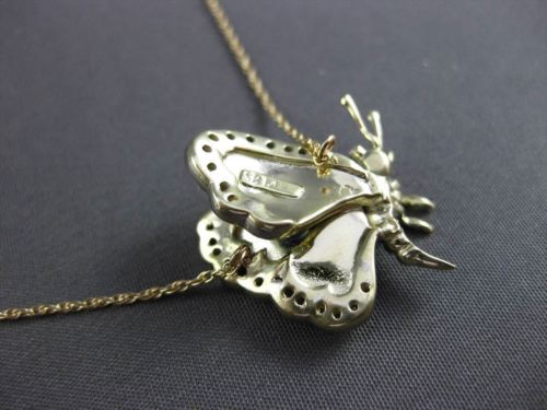 ANTIQUE .25CT DIAMOND 14KT TWO TONE GOLD 3D ENAMEL BUTTERFLY NECKLACE #23628