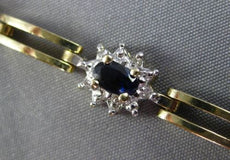 ESTATE WIDE 2.90CT DIAMOND & AAA SAPPHIRE 14KT TWO TONE GOLD OVAL HALO BRACELET