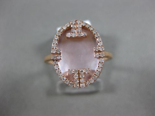 ESTATE .22CT DIAMOND & AAA MOTHER OF PEARL 14KT ROSE GOLD 3D OVAL FUN RING