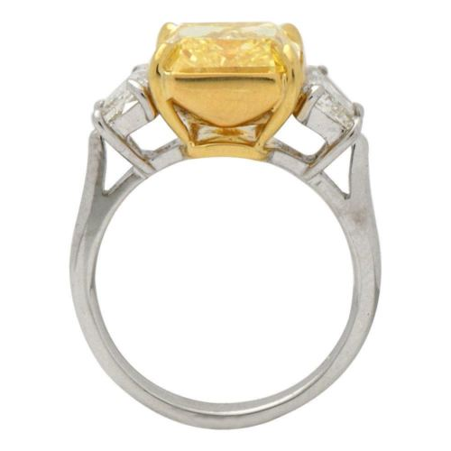 ESTATE EXTRA LARGE 6.84CT WHITE & CANARY DIAMOND 18K 2 TONE GOLD ENGAGEMENT RING