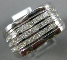 ESTATE LARGE 2.26CT PRINCESS CUT DIAMOND 14KT WHITE GOLD 3D MULTI ROW MENS RING