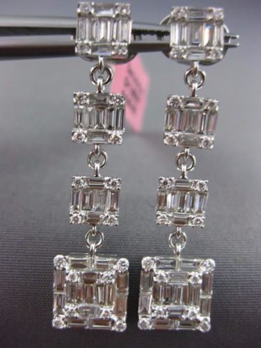 LARGE 2.38CT ROUND & BAGUETTE DIAMOND 18K WHITE GOLD 3D JOURNEY HANGING EARRINGS