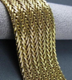 ANTIQUE WIDE 18KT YELLOW GOLD HAND CRAFTED WOVEN BRACELET STUNNING! #1903
