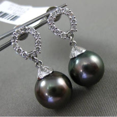 ESTATE .34CT DIAMOND 18KT WHITE GOLD TAHITIAN PEARL HORSE SHOE HANGING EARRINGS