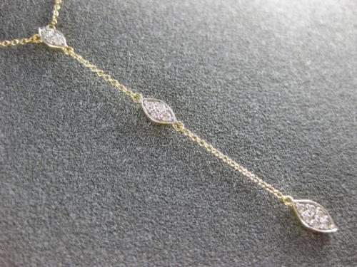 ESTATE .20CT DIAMOND 14KT YELLOW GOLD 3D CLUSTER LARIAT MARQUISE FUN NECKLACE
