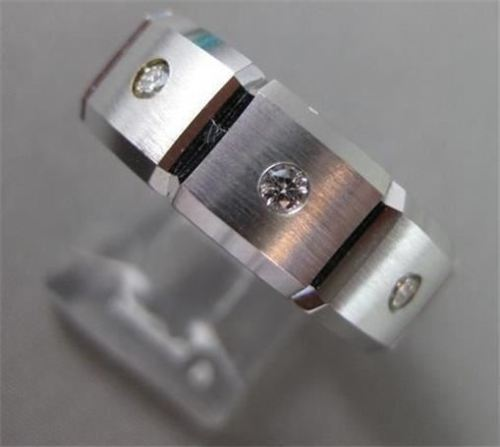 ESTATE WIDE .30CT DIAMOND 14KT W GOLD SQUARE ETOILE MENS ANNIVERSARY RING #20894