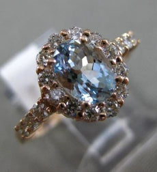 1.12CT DIAMOND & AAA AQUAMARINE 14KT ROSE GOLD OVAL HALO CLASSIC ENGAGEMENT RING
