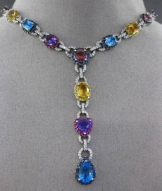 ESTATE LARGE 1.20CT DIAMOND & AAA MULTI GEM 14KT WHITE GOLD 3D LARIAT NECKLACE