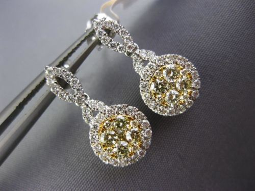 .87CT WHITE & FANCY YELLOW DIAMOND 14KT TWO TONE GOLD 3D FLOWER HANGING EARRINGS