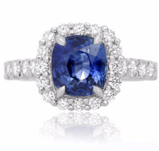 ESTATE 3.79CT DIAMOND & AAA SAPPHIRE PLATINUM 3D SQUARE CLASSIC ENGAGEMENT RING