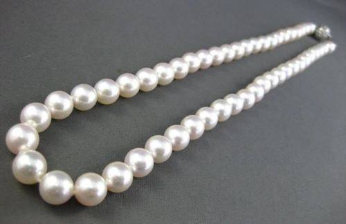 ESTATE .10CT DIAMOND AAA 8mm SOUTH SEA PEARL 18KT WHITE GOLD NECKLACE #2393