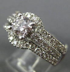 WIDE 2.0CT DIAMOND 14KT WHITE GOLD ROUND WEDDING ENGAGEMENT INSERT RING SET 302