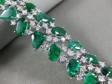 WIDE 20.98CT DIAMOND & AAA COLOMBIAN EMERALD 18KT WHITE GOLD 3D TENNIS BRACELET