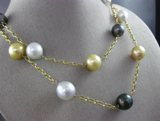 ESTATE LARGE & LONG AAA MULTI COLOR PEARLS 14KT YELLOW GOLD 3D FILIGREE NECKLACE
