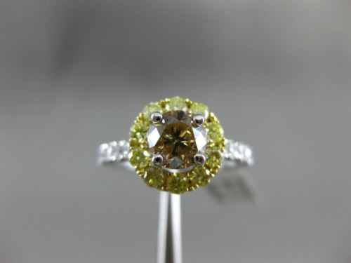 1.94CT MULTI COLOR CHOCOLATE FANCY DIAMOND 18KT 2 TONE GOLD HALO ENGAGEMENT RING
