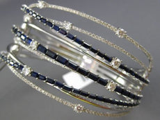 ESTATE WIDE 8.34CT DIAMOND & SAPPHIRE 14K WHITE GOLD CRISS CROSS BANGLE BRACELET
