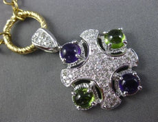 ESTATE LARGE 3.50CT DIAMOND & GREEN PURPLE AMETHYST 14K GOLD PAVE ITALY NECKLACE
