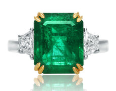 EGL CERTIFIED 7.63CT DIAMOND & EMERALD 18K WHITE GOLD & PLATINUM ENGAGEMENT RING