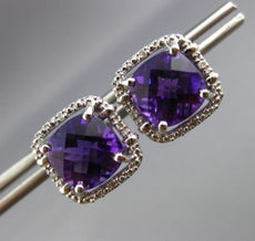 ESTATE LARGE 3.84CT DIAMOND & AMETHYST 14KT WHITE GOLD SQUARE HALO STUD EARRINGS