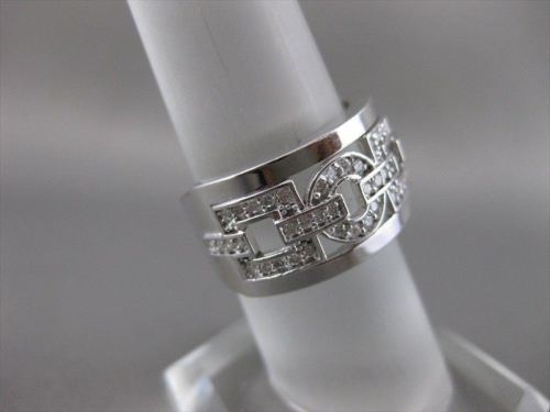 ANTIQUE WIDE .74CT DIAMOND 14KT WHITE GOLD 3D ROUND & SQUARE LINK FUN RING 15742