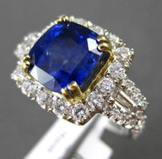ESTATE LARGE 5.97CT DIAMOND & SAPPHIRE 18KT WHITE GOLD FILIGREE ENGAGEMENT RING