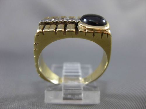 ANTIQUE 3.08CT OLD MINE DIAMOND & STAR SAPPHIRE 14K 2 TONE GOLD MENS GYPSY RING