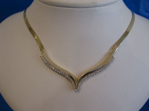 "ANTIQUE 1.32CTW DIAMOND 14KT YELLOW GOLD FLAT NECKLACE 19.5"" INCH"