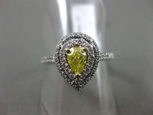 ESTATE 1.10CT WHITE & FANCY YELLOW DIAMOND 18KT WHITE GOLD PEAR ENGAGEMENT RING