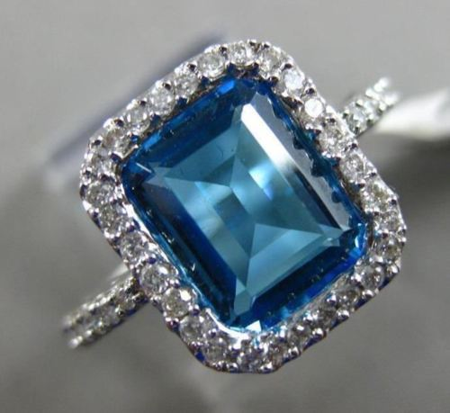 ESTATE WIDE 4.14CT DIAMOND & AAA BLUE TOPAZ 14KT WHITE GOLD HALO ENGAGEMENT RING