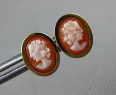 ESTATE OVAL 14KT YELLOW GOLD HANDCRAFTED LADY SHELL CAMEO EARRINGS 10mm #19573