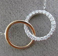 ESTATE .30CT DIAMOND 14KT WHITE & ROSE GOLD 3D CLASSIC CIRCLE LOVE KNOT NECKLACE