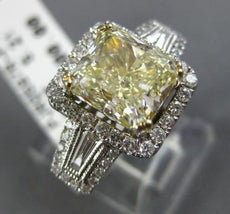 LARGE 3.82CT WHITE & FANCY YELLOW CUSHION DIAMOND 14K WHITE GOLD ENGAGEMENT RING