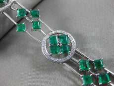 ESTATE WIDE 9.06CT DIAMOND & AAA EMERALD 18KT WHITE GOLD 3D HALO TENNIS BRACELET