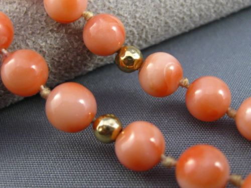 ANTIQUE LONG 14KT YELLOW GOLD BEAD 3D AAA PINK CORAL FILIGREE NECKLACE #25473