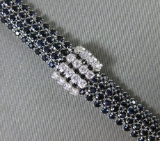 ESTATE WIDE & LONG 9.60CT DIAMOND & SAPPHIRE 14KT WHITE GOLD MULTI ROW BRACELET