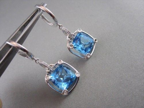 ANTIQUE 12.0CT BLUE TOPAZ & DIAMOND DROP 14KT WHITE GOLD EARRINGS ONE OF A KIND!