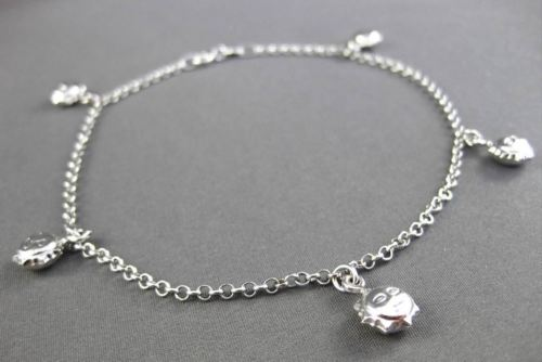 ESTATE EXTRA LONG 14KT WHITE GOLD MULTI CHARM SMILEY STAR ANKLE BRACELET #23658
