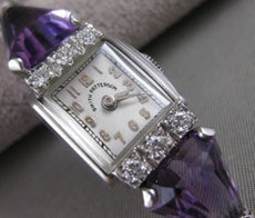 ANTIQUE 4.40CTW OLD MINE DIAMOND AMETHYST PLATINUM SMITH PATTERSON WATCH #2573