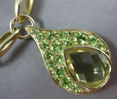ESTATE LARGE 8.0CT YELLOW TOPAZ & PERIDOT 14KT YELLOW GOLD 3D RAIN DROP NECKLACE