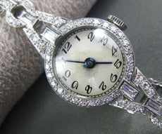 ANTIQUE LARGE 1.15CT OLD MINE DIAMOND PLATINUM MECHANICAL ROUND WATCH #22196
