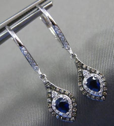.72CT WHITE CHOCOLATE FANCY DIAMOND & SAPPHIRE 14K WHITE GOLD TEAR DROP EARRINGS