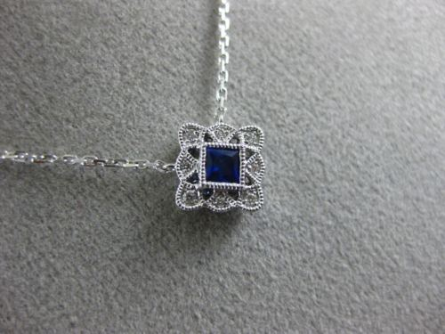 ESTATE .21CT DIAMOND & SAPPHIRE 18K WHITE GOLD FILIGREE MILGRAIN SQUARE NECKLACE