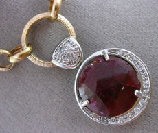 ESTATE LARGE 9.50CT DIAMOND RUBY 14K 2 TONE GOLD CIRCULAR LARIAT TOGGLE NECKLACE