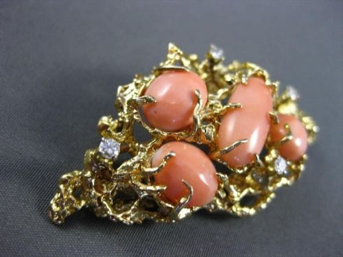ANTIQUE LARGE OLD MINE DIAMOND & AAA CORAL 14KT YELLOW GOLD BROOCH / PIN #20239