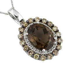 4.20CT WHITE & FANCY CHOCOLATE DIAMOND & SMOKEY QUARTZ 14KT WHITE GOLD PENDANT