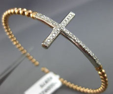 ESTATE WIDE .30CT DIAMOND 14KT WHITE ROSE GOLD 3D CROSS FLEXIBLE BANGLE BRACELET