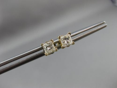 ESTATE .70CT SQUARE PRINCESS DIAMOND 14KT YELLOW GOLD STUD EARRINGS #14261