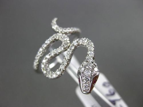 ANTIQUE .52CT DIAMOND & AAA RUBY 18KT WHITE GOLD 3D HANDCRAFTED SNAKE FUN RING